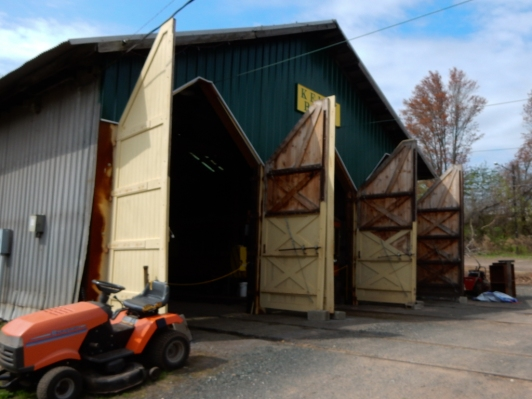 Doors to the trolley barn. Our car has been removed and is ready for our ride.