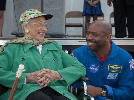 Katherine Johnson and astronaut Leland Melvin