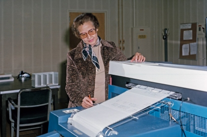 HAMPTON, VA - 1980: NASA space scientist, and mathematician Katherine Johnson poses for a portrait at work at NASA Langley Research Center in 1980 in Hampton, Virginia. (Photo by NASA/Donaldson Collection/Getty Images)