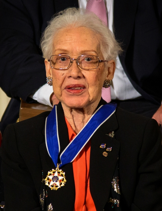 Former NASA mathematician Katherine Johnson is seen after President Barack Obama presented her with the Presidential Medal of Freedom, Tuesday, Nov. 24, 2015, during a ceremony in the East Room of the White House in Washington. Photo Credit: (NASA/Bill Ingalls) Johnson's computations have influenced every major space program from Mercury through the Shuttle program. Johnson was hired as a research mathematician at the Langley Research Center with the National Advisory Committee for Aeronautics (NACA), the agency that preceded NASA, after they opened hiring to African-Americans and women. Johnson exhibited exceptional technical leadership and is known especially for her calculations of the 1961 trajectory for Alan Shepard's flight (first American in space), the 1962 verification of the first flight calculation made by an electronic computer for John Glenn's orbit (first American to orbit the earth), and the 1969 Apollo 11 trajectory to the moon. In her later NASA career, Johnson worked on the Space Shuttle program and the Earth Resources Satellite and encouraged students to pursue careers in science and technology fields.