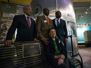 Katherine G. Johnson being honored at the Virginia Air and Space Center.