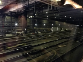 Penn Station, NYC is being repaired. Normally, it's a pretty dark ride through here.