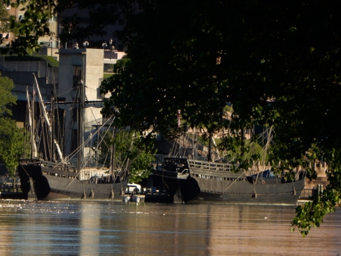 Replicas of the Niña and Pinta on display in Hartford this weekend.