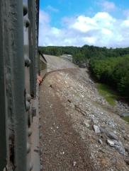 Riding across the face of the Thomaston Dam