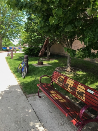 This is the little park. That's my niece's bench