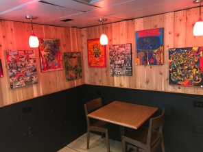 The inside of the coffee shop is a little bit of an art gallery