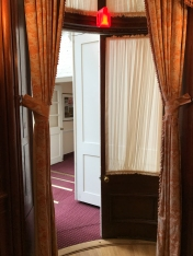 Curved doors from the inside of the dining room