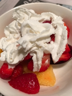 OK, so dessert happened early. Fresh peaches and strawberries, I mean...