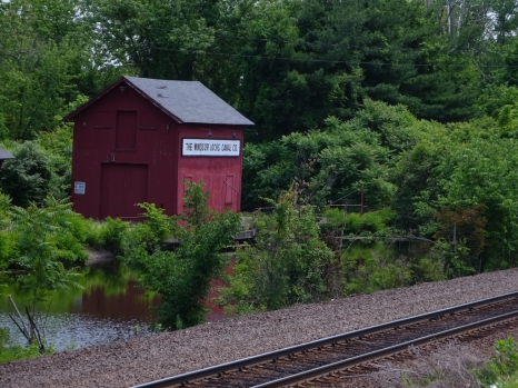 Windsor Locks Canal service building (and doors) near the south end of the canal