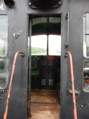 Door to the Boston and Maine Engine that I got to sit in and pretend to be running.