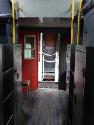 Inside the caboose. Yes, I climbed up into the spaces on the left.