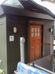 The restrooms were made to look like a passenger car.