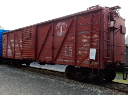 Wooden boxcar on display