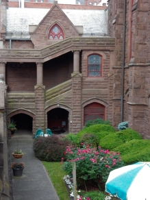Looking down into the lower level garden on the left side of the church.