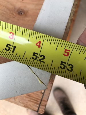 52 and 9/16ths - we need to find that same measurement at the other end.