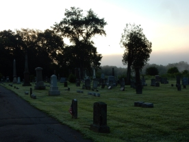 Cemeteries are special places on foggy mornings