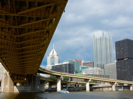 We're under the Ft. Pitt Bridge looking back across the Monongahela River to the heart of the city. That's the PPG tower that looks like a castle.