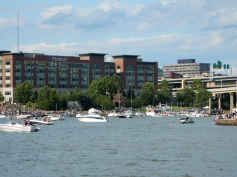 Boats for the regatta. Looks crowded, but the captain has it under control.