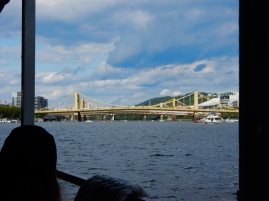 """Turning up the Allegheny, looking at """"the Sisters"""" Roberto Clemente, Andy Warhol and Rachel Carson bridges."""