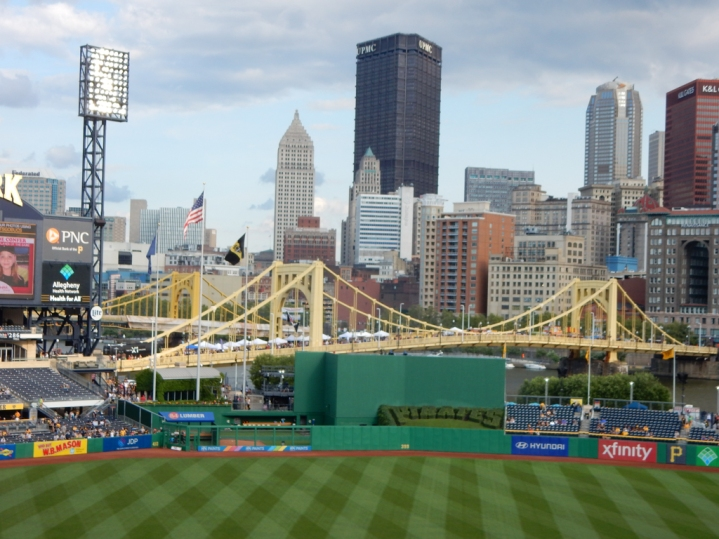"""This is a pretty city. That's the Roberto Clemente bridge in the center, with the other """"Sisters"""" standing behind it."""