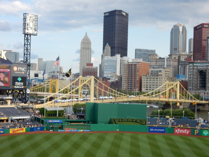 "This is a pretty city. That's the Roberto Clemente bridge in the center, with the other ""Sisters"" standing behind it."