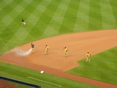 With no rain in the forecast, the grounds crew was actually wetting down the infield 40 minutes prior to game time.