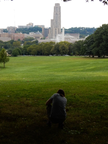 Across Panther Hollow is the Cathedral of Learning, the signature architectural element of the University of Pittsburgh. That's Faith showing off again.
