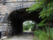 This is one of the stone sections of the Panther Hollow Bridge.