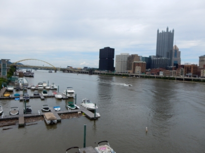 The Monogahela River. We have to cross this and the one on the other side of those buildings.