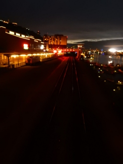 The railroad tracks in front of Station Square.