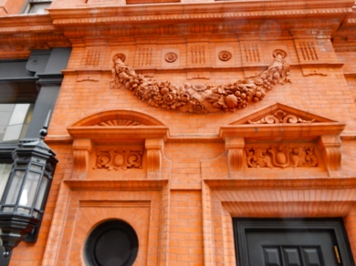 Some of the terracotta details in the facade.
