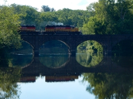 While I was walking back to the historical society, a freight train started crossing the bridge