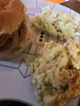 Homemade pulled-pork, potato salad and coleslaw served on a Star Wars plate - it doesn't get any better.