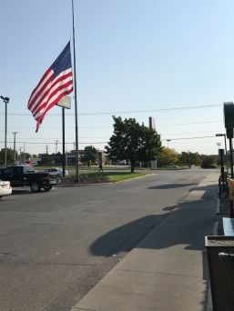Perkins - easy to find. Just look for the giant American flag. Seriously, I could cover my car with that.