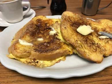 French Toast made with thick-sliced Italian bread.