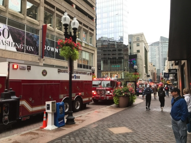Not sure what was going on, but there were about seven fire trucks here.