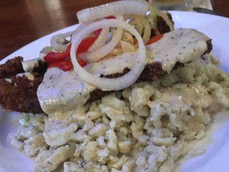 Wiener Schnitzel with Spaetzel.