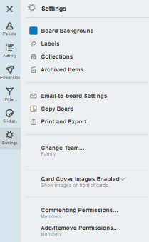 Board settings include the Power-Ups and email options.
