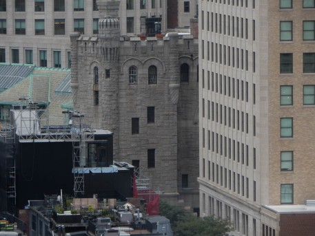 This is in Boston, taken from my hotel room. There's no door visible in the stone building but there is one in the building under construction.