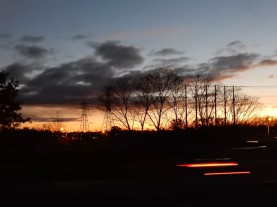 Sunrise from the shoulder of the on-ramp