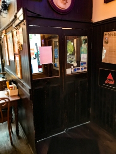 From the bar. these are the inner doors at Jacob Wirth's. They swing, bar-style, to let folks in or out.