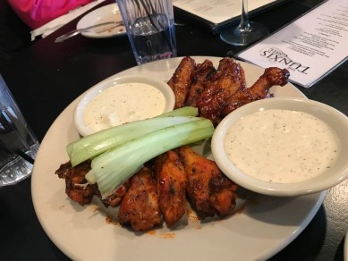 Wings, barbecue and buffalo with Blue Cheese and Parm-Pep.