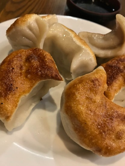 Pan fried dumplings from Mee's Noodle shop in New York.