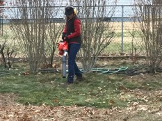 After Faith finished working on her project, she helped me clean up te leaves. She likes using the leaf-blower.