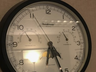 The clock came with the office. The important part is the temp. That's 62°f (16.7°c) and that's a cold Monday morning.