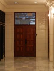 Inside the atrium of the Railway Exchange Building