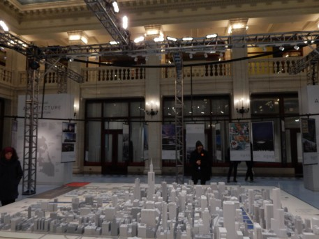 The scale model of Chicago in the atrium of the Railway Exchange Building
