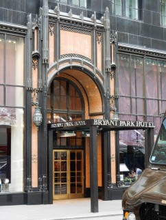 This hotel is across from Bryant Park which adjoins The main branch of the NY Library.