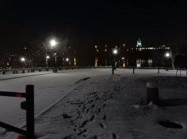 Those are NOT my footprints. Someone walked down into the frozen/closed Great River Park.