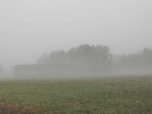 Tobacco barn in a foggy field.